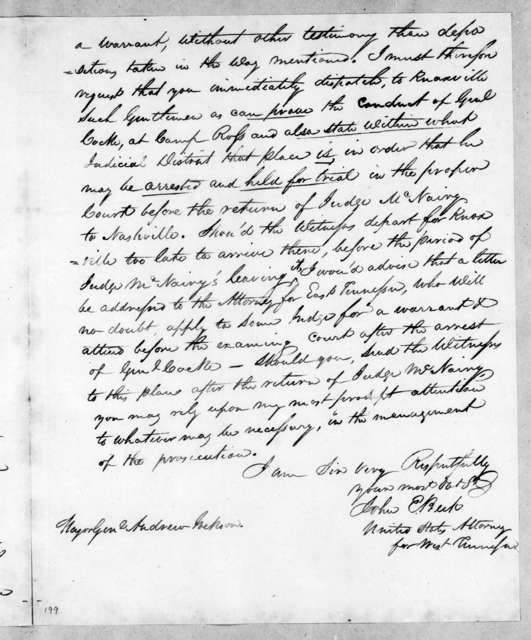 John E. Beck to Andrew Jackson, April 9, 1814