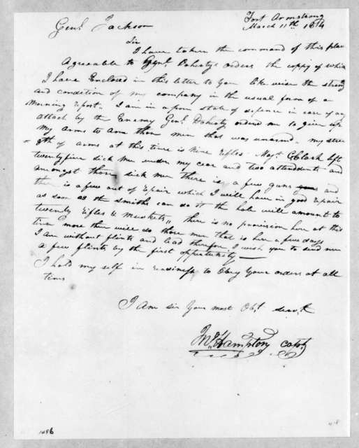 John Hampton to Andrew Jackson, March 11, 1814