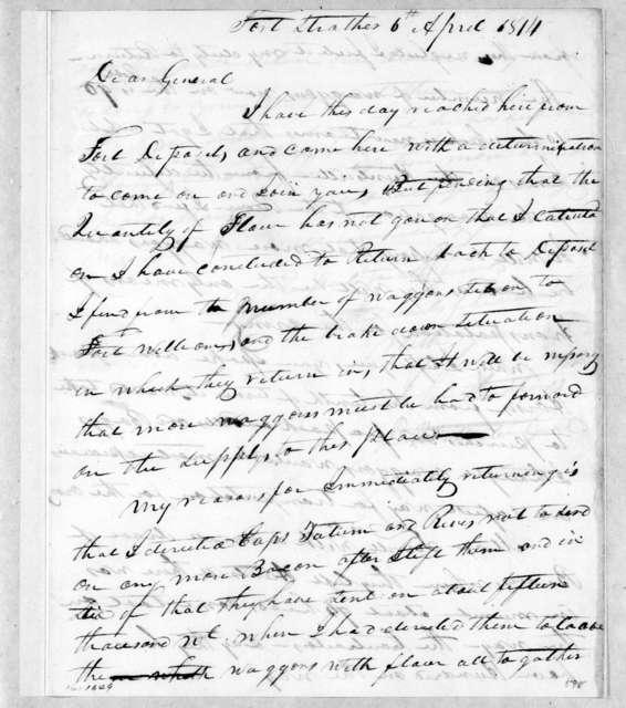John Hutchings to Andrew Jackson, April 6, 1814