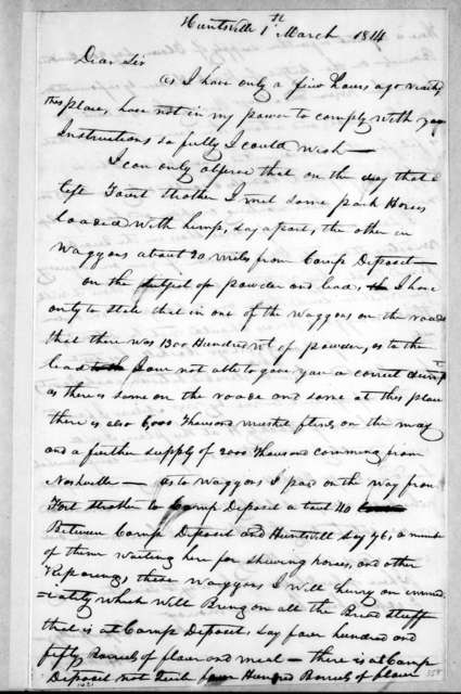 John Hutchings to Andrew Jackson, March 1, 1814