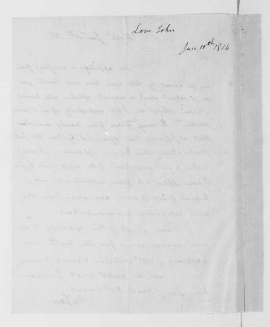 John Love to James Madison, January 10, 1814.
