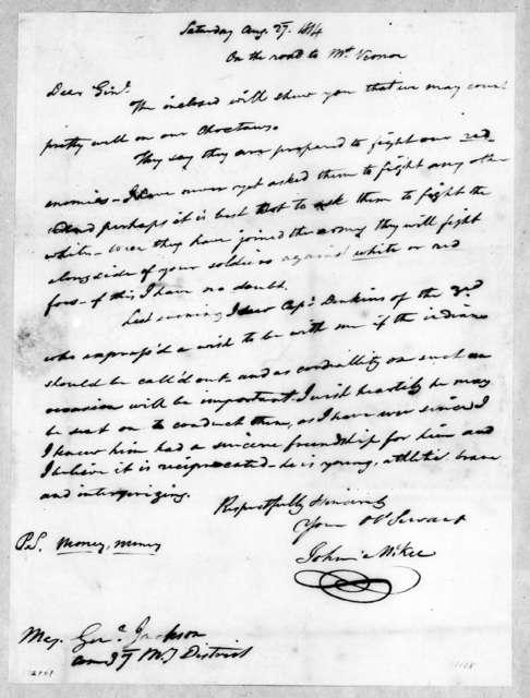John McKee to Andrew Jackson, August 27, 1814