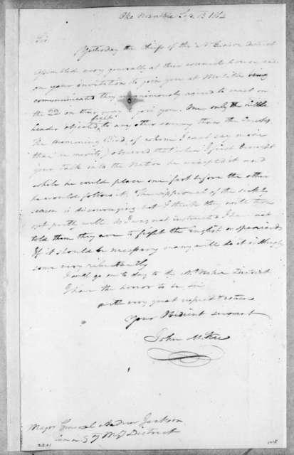 John McKee to Andrew Jackson, September 13, 1814