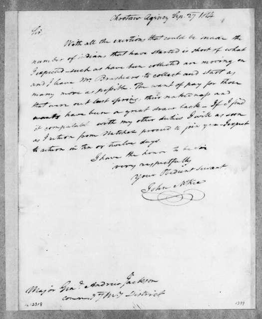 John McKee to Andrew Jackson, September 27, 1814
