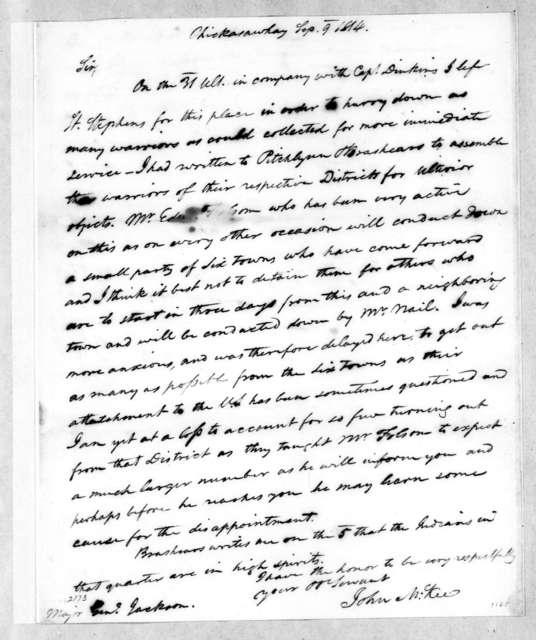 John McKee to Andrew Jackson, September 9, 1814