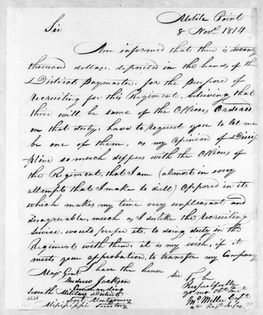 John Miller to Andrew Jackson, November 8, 1814