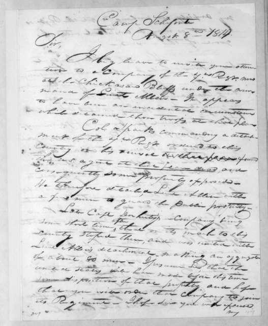 John Nicks to Andrew Jackson, August 8, 1814