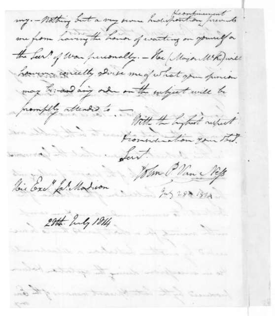 John P. Van Ness to James Madison, July 28, 1814.