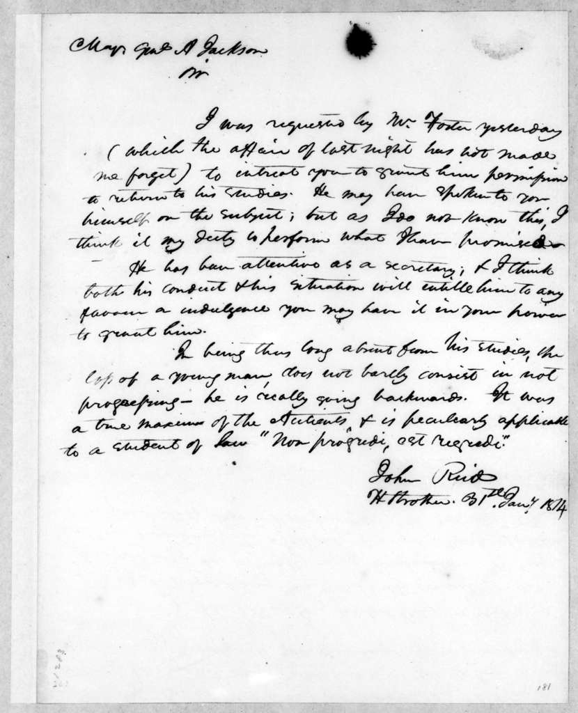 John Reid to Andrew Jackson, January 31, 1814