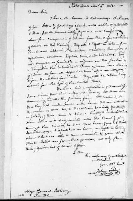 John Sibley to Andrew Jackson, November 9, 1814