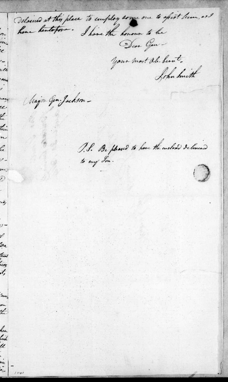 John Smith to Andrew Jackson, August 30, 1814