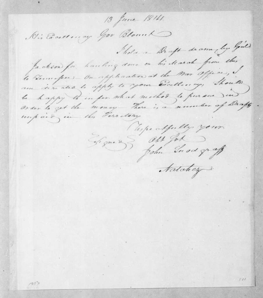 John Snodgrass to Willie Blount, June 13, 1814