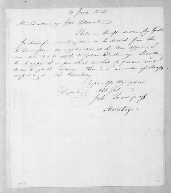 John Snodgrass to Willie Blount, June 13, 1814