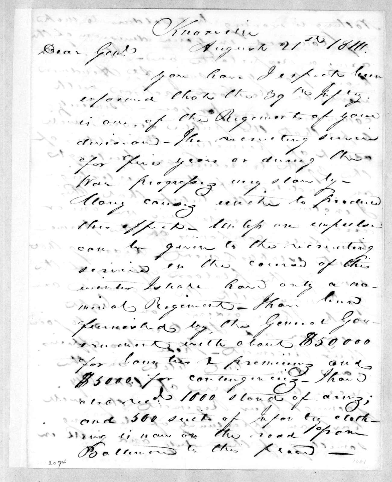 John Williams to Andrew Jackson, August 21, 1814