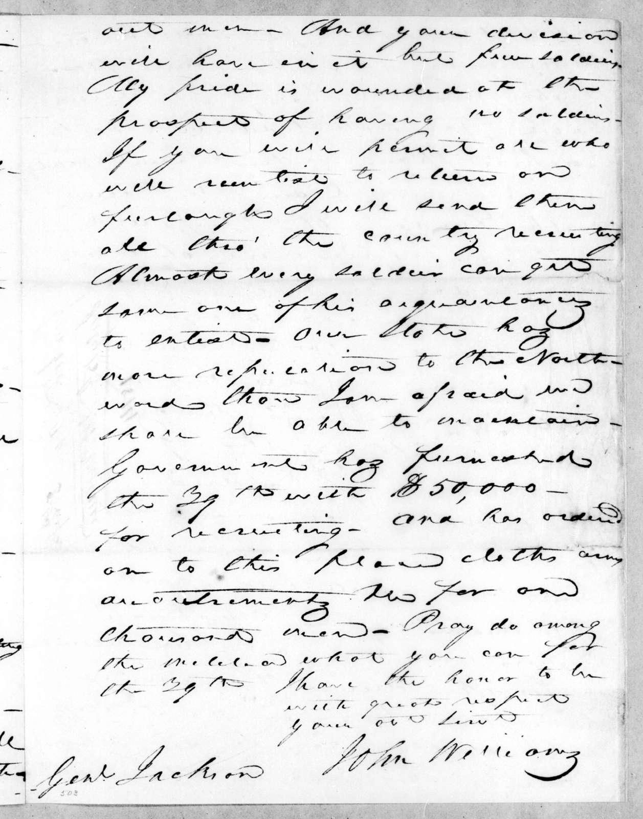 John Williams to Andrew Jackson, July 15, 1814