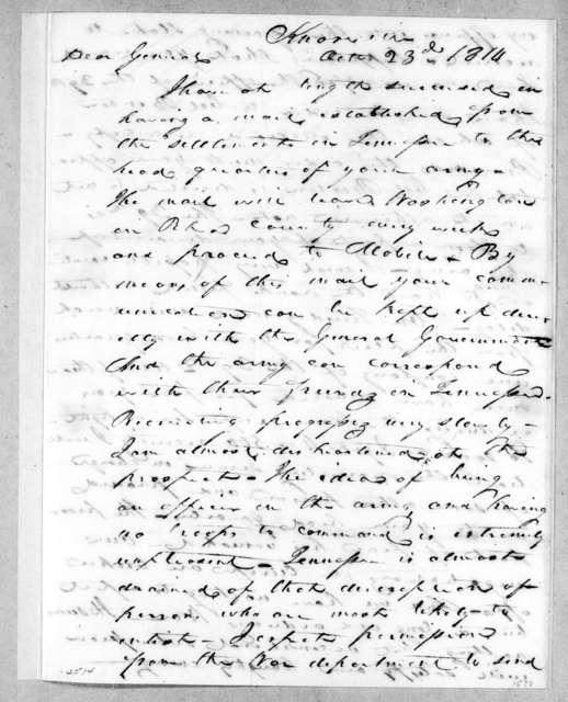 John Williams to Andrew Jackson, October 23, 1814