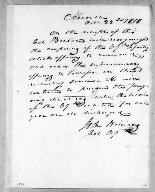John Williams to Thomas H. Benton, October 22, 1814