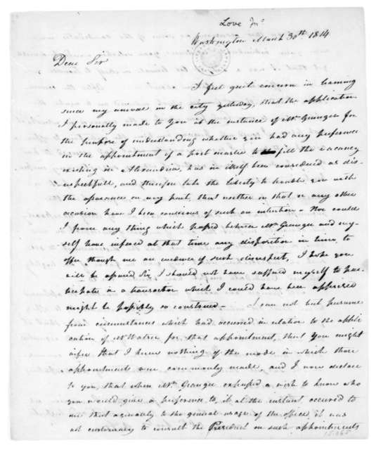 Jonathan Love to James Madison, March 30, 1814.