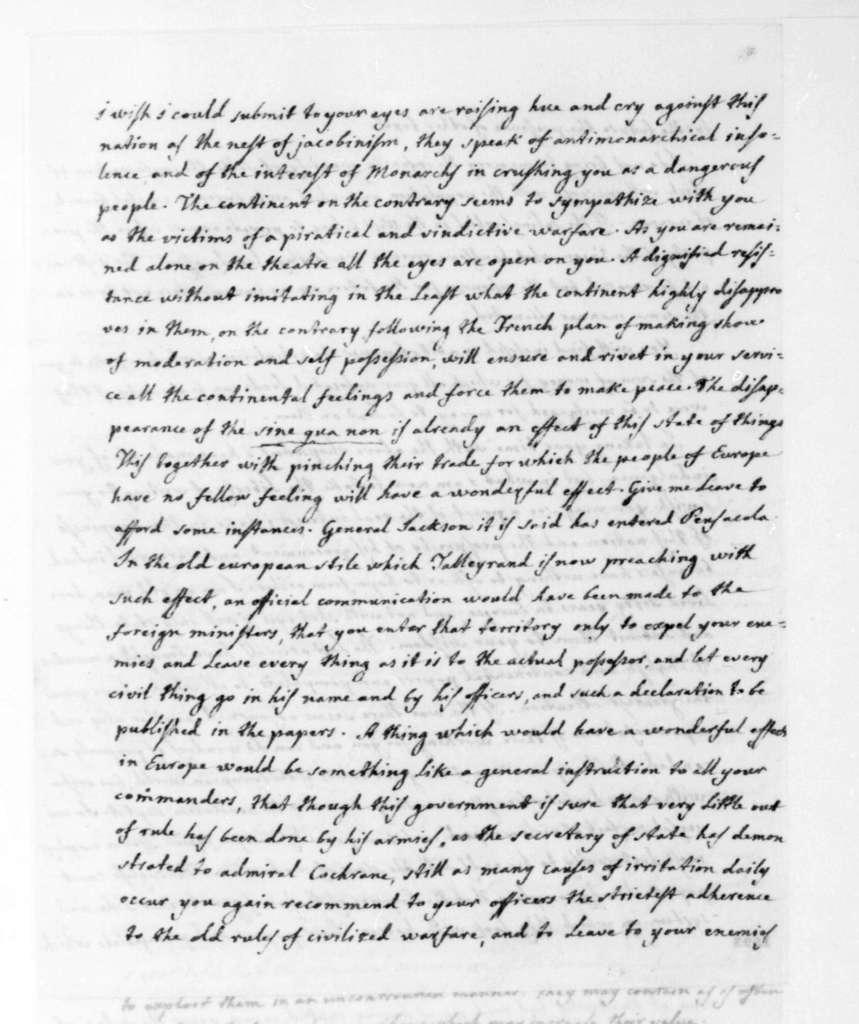 Jos. Correa de Serra to James Madison, December 10, 1814. With financial statement.