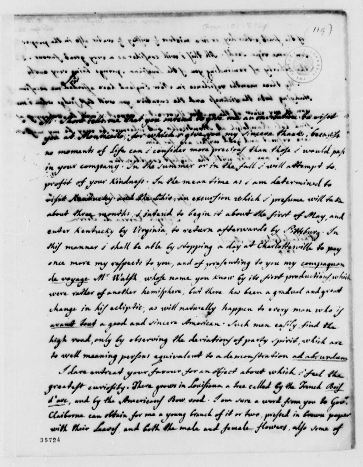 Jose Correa da Serra to Thomas Jefferson, April 10, 1814