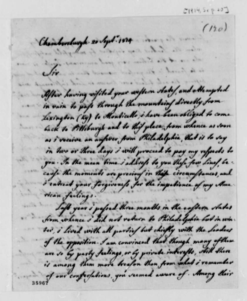 Jose Correa da Serra to Thomas Jefferson, September 20, 1814