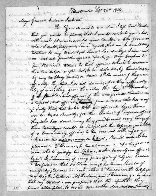 Joseph Anthony to Andrew Jackson, September 24, 1814