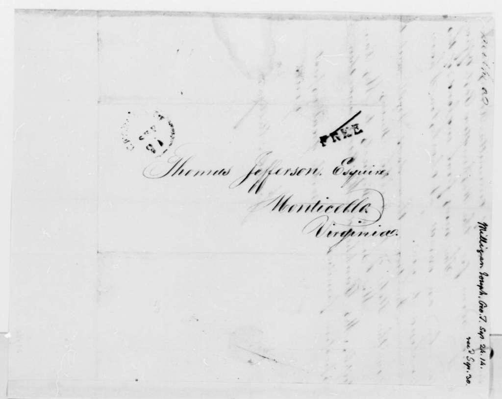 Joseph Milligan to Thomas Jefferson, September 24, 1814