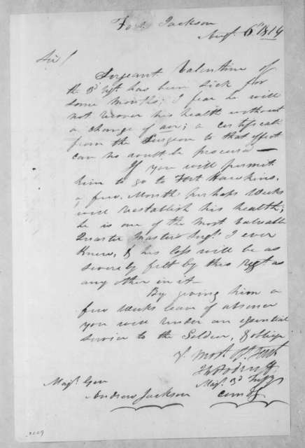 Joseph Woodruff to Andrew Jackson, August 6, 1814