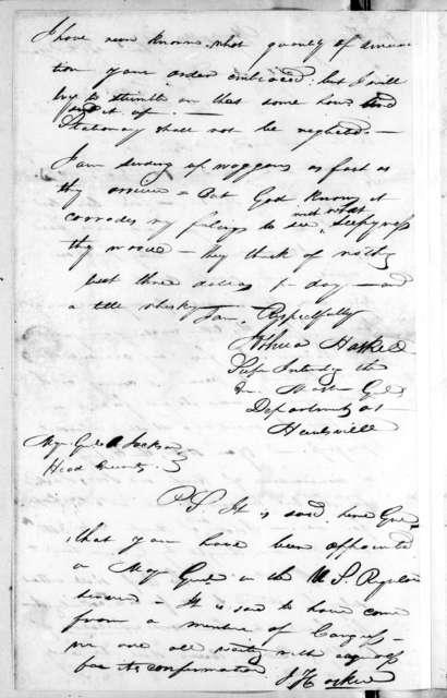 Joshua Haskell to Andrew Jackson, February 15, 1814