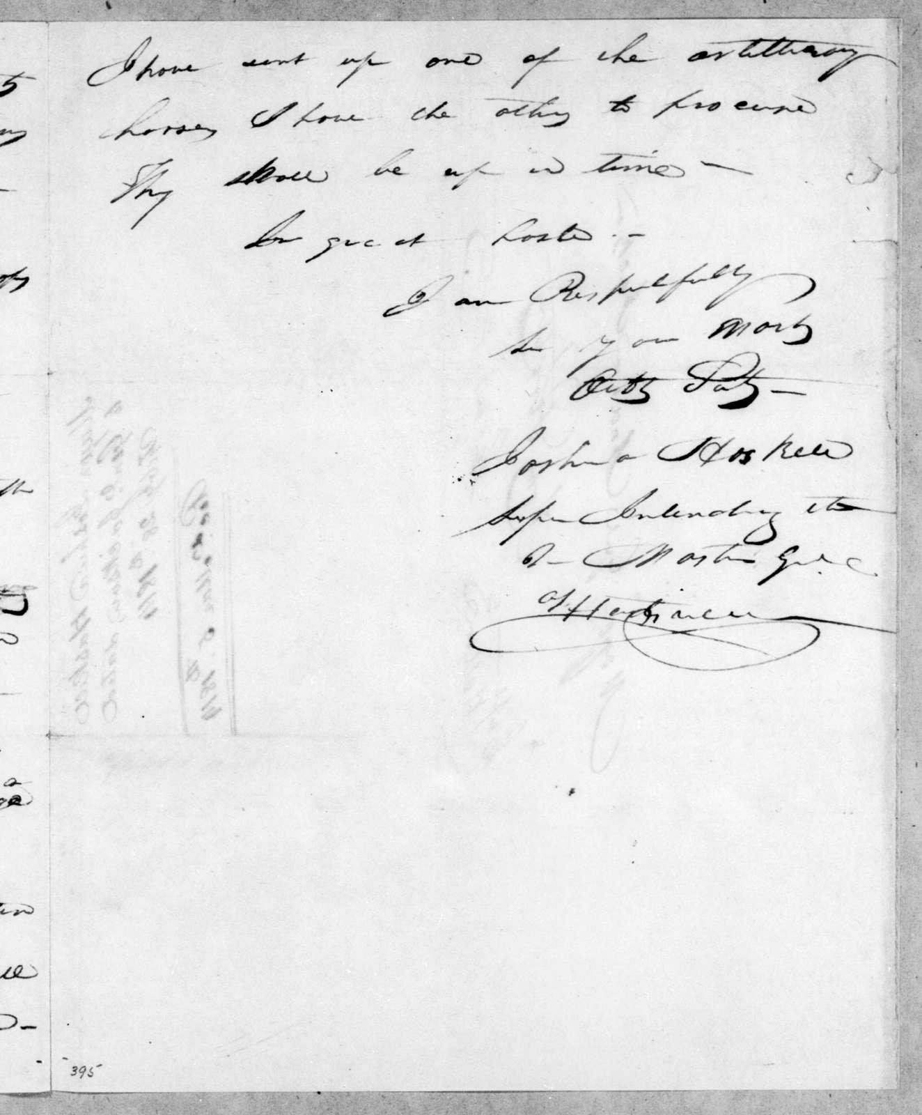 Joshua Haskell to Andrew Jackson, February 28, 1814
