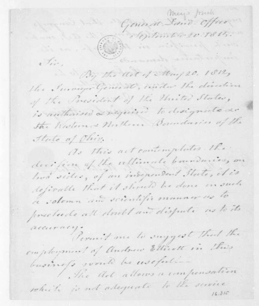Josiah Meigs to James Madison, September 20, 1814.