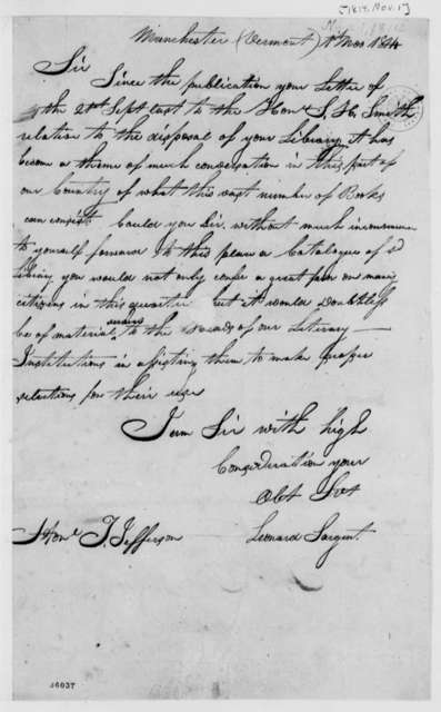 Leonard Sargent to Thomas Jefferson, November 1, 1814