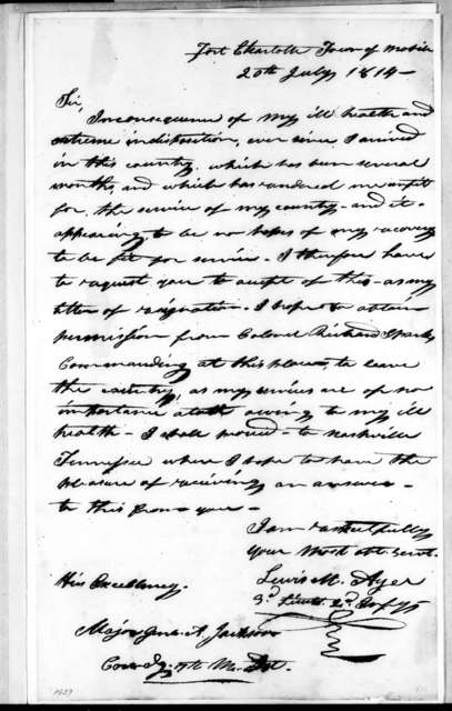 Lewis M. Ayer to Andrew Jackson, July 20, 1814