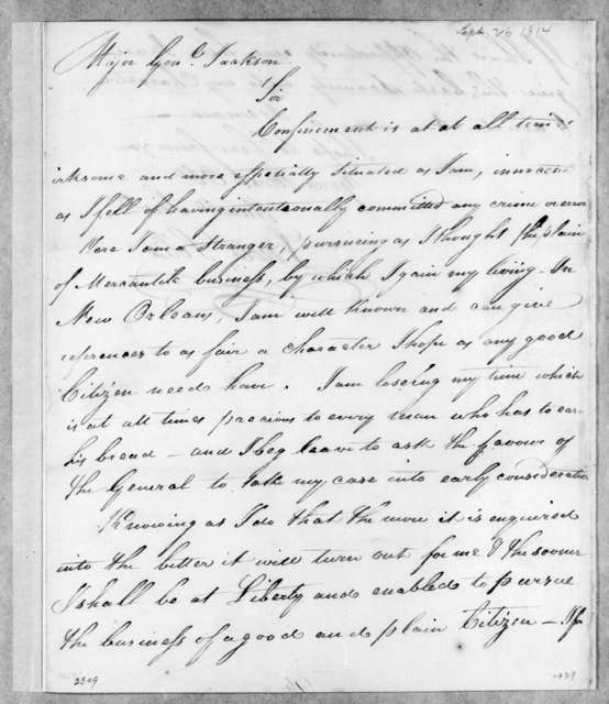 Lewis Solis to Andrew Jackson, September 26, 1814