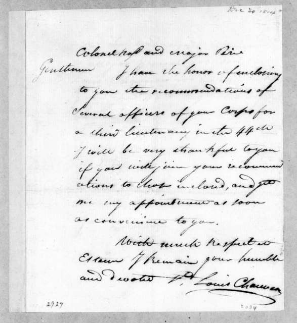 Louis Chauveau to George Thompson Ross, December 30, 1814