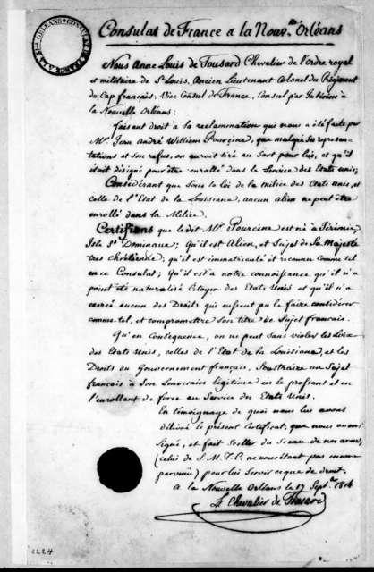 Louis de Tousard, September 17, 1814