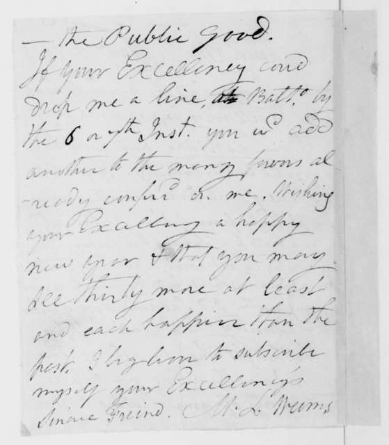 M. L. Weems to James Madison, January 1, 1814.