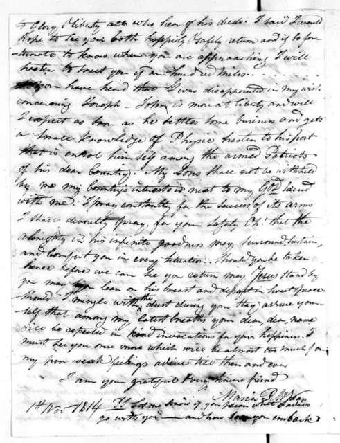 M. P. M. Spears to Rachel Donelson Jackson, November 1, 1814