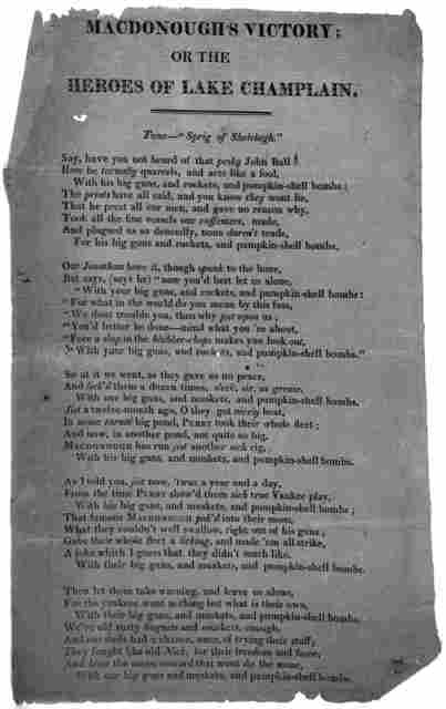"""MacDonough's victory; or, The heroes of Lake Champlain. Tune- """"Sprig of Shelelagh."""" [5 stanzas of verse] [1814]."""