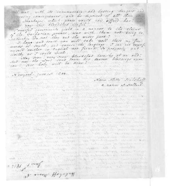 Maria Aletta Hulshoff to James Madison, June 1, 1814.
