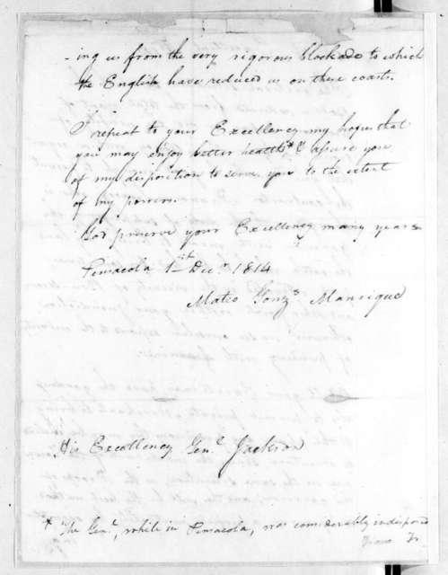 Mateo Gonzalez Manrique to Andrew Jackson, December 1, 1814