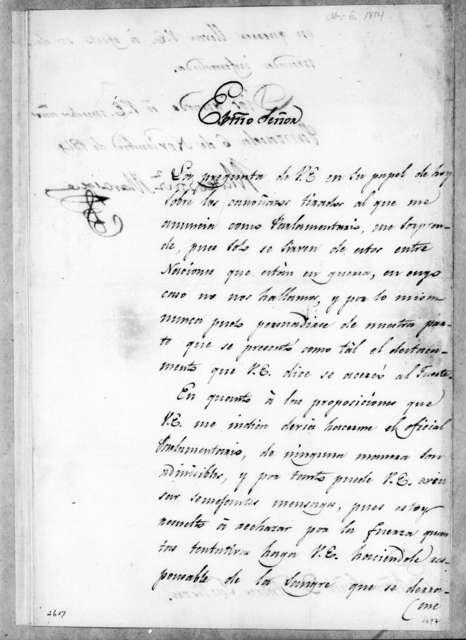 Mateo Gonzalez Manrique to Andrew Jackson, November 6, 1814