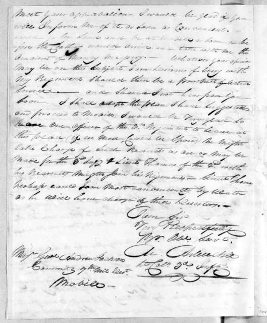 Mathew Arbuckle to Andrew Jackson, September 19, 1814
