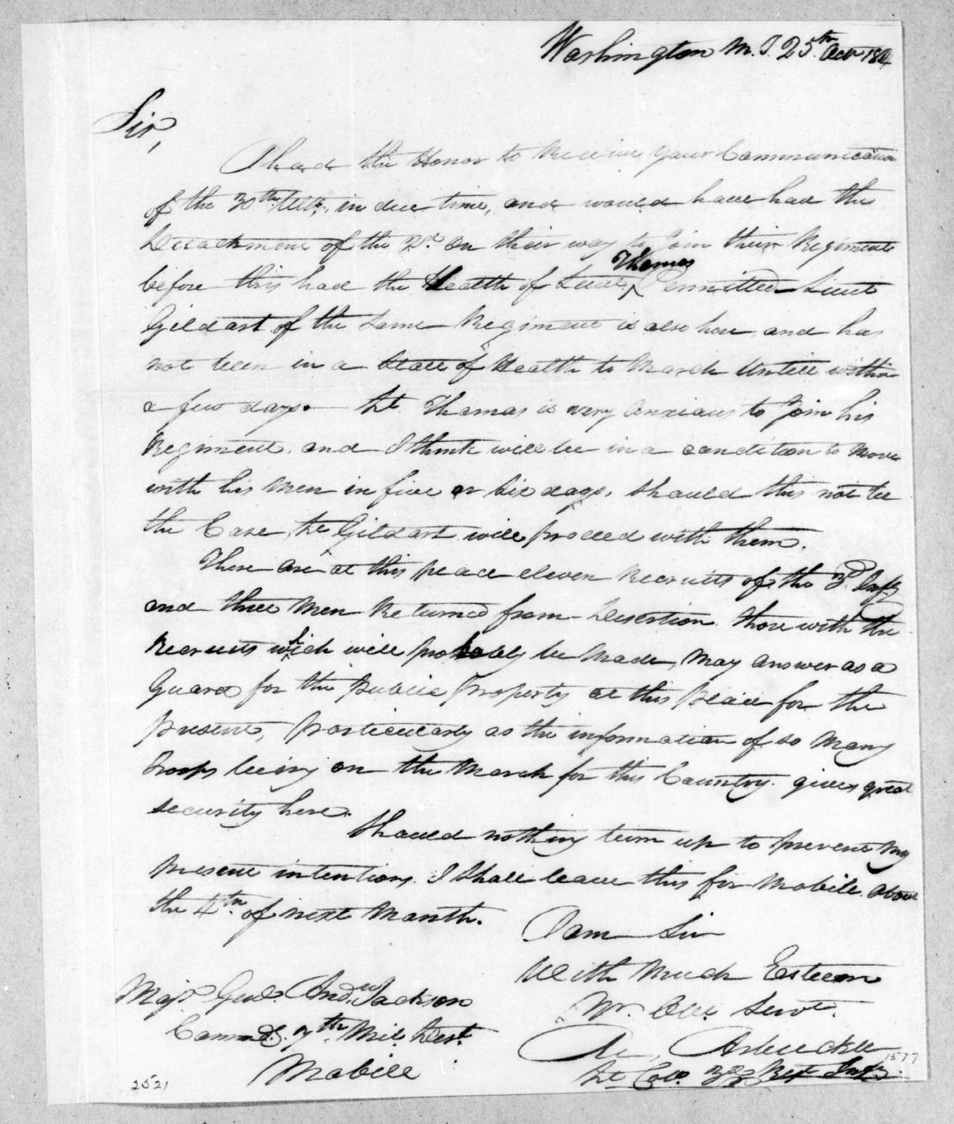 Matthew Arbuckle to Andrew Jackson, October 25, 1814
