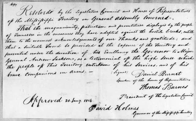 Mississippi Legislature, January 21, 1814