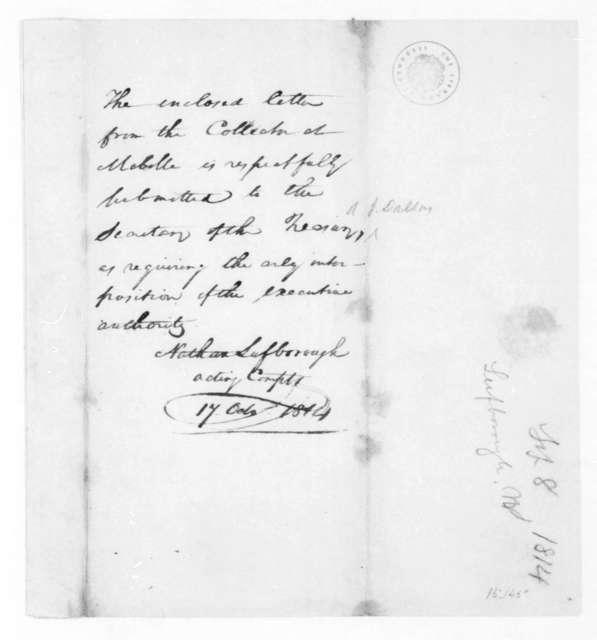 Nathan Lufborough to Alexander J. Dallas, October 17, 1814. Memorandum.