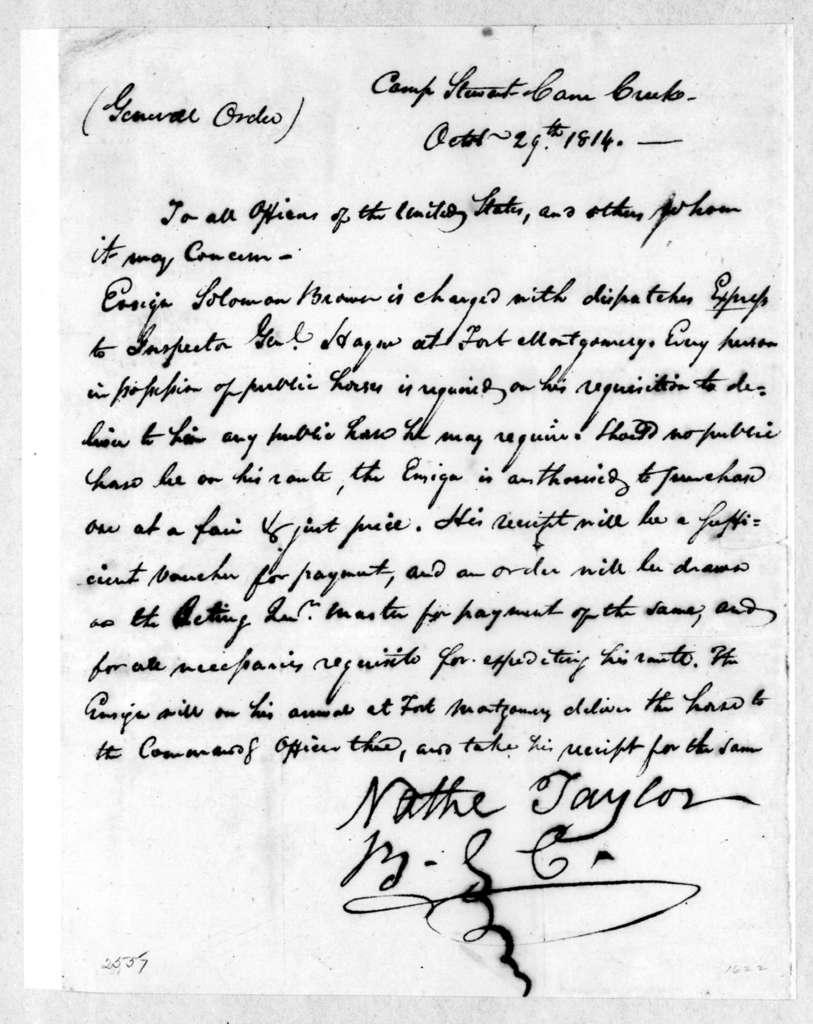 Nathanial Taylor, October 29, 1814