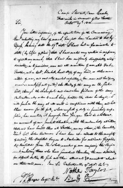 Nathanial Taylor to Arthur Peronneau Hayne, October 29, 1814
