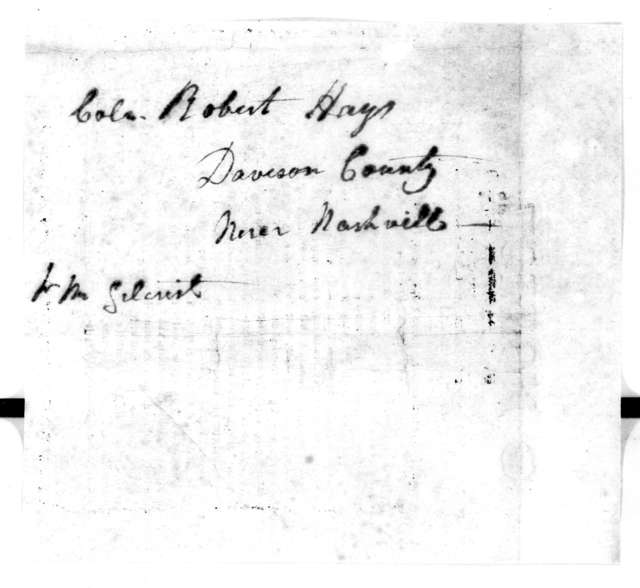 Nathanial Taylor to Robert Hays, August 19, 1814