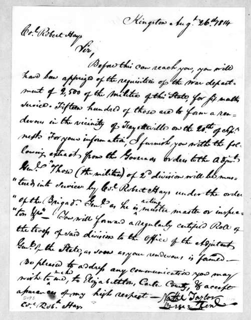 Nathanial Taylor to Robert Hays, August 26, 1814